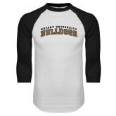 White/Black Raglan Baseball T-Shirt-Arched Bryant University Bulldogs