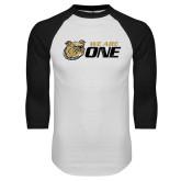 White/Black Raglan Baseball T-Shirt-We Are One Distressed