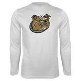 Syntrel Performance White Longsleeve Shirt-Bulldog Head