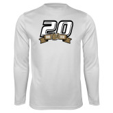 Performance White Longsleeve Shirt-20th Football Logo