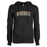 ENZA Ladies Black Fleece Full Zip Hoodie-Arched Bryant University