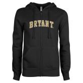 ENZA Ladies Black Fleece Full Zip Hoodie-Arched Bryant