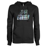 ENZA Ladies Black Fleece Full Zip Hoodie-Bryant Official Logo Foil