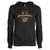 ENZA Ladies Black Fleece Full Zip Hoodie-Basketball in Ball