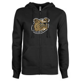 ENZA Ladies Black Fleece Full Zip Hoodie-Bulldog Head