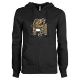 ENZA Ladies Black Fleece Full Zip Hoodie-Bulldog