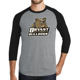 Grey/Black Tri Blend Baseball Raglan-Bryant Official Logo
