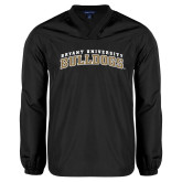 V Neck Black Raglan Windshirt-Arched Bryant University Bulldogs