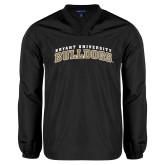 V Neck Black Raglan Windshirt-Arched Bryant University Bulldogs