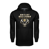 Under Armour Black Performance Sweats Team Hoodie-Basketball Stacked on Ball