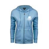 ENZA Ladies Light Blue Fleece Full Zip Hoodie-Bryant Official Logo