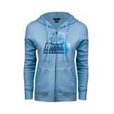 ENZA Ladies Light Blue Fleece Full Zip Hoodie-Bryant Official Logo Foil