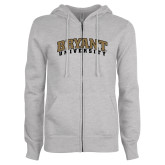 Ladies Grey Fleece Full Zip Hoodie-Arched Bryant University