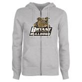 ENZA Ladies Grey Fleece Full Zip Hoodie-Bryant Official Logo