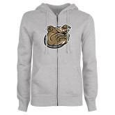 Ladies Grey Fleece Full Zip Hoodie-Bulldog Head