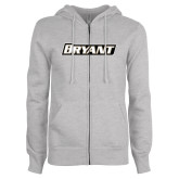 Ladies Grey Fleece Full Zip Hoodie-Bryant
