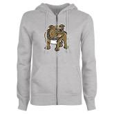 Ladies Grey Fleece Full Zip Hoodie-Bulldog
