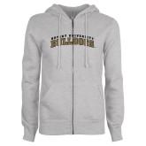 Ladies Grey Fleece Full Zip Hoodie-Arched Bryant University Bulldogs