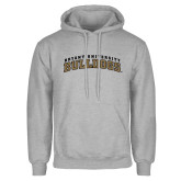 Grey Fleece Hoodie-Arched Bryant University Bulldogs