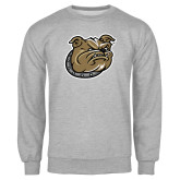 Grey Fleece Crew-Bulldog Head