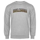 Grey Fleece Crew-Arched Bryant University Bulldogs