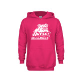 Youth Raspberry Fleece Hoodie-Bryant Official Logo