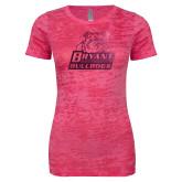 Next Level Ladies Junior Fit Fuchsia Burnout Tee-Bryant Official Logo Foil