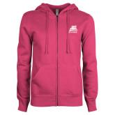 ENZA Ladies Fuchsia Fleece Full Zip Hoodie-Bryant Official Logo
