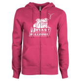 ENZA Ladies Fuchsia Fleece Full Zip Hoodie-Kay Yow Breast Cancer Fund Ribbon