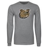 Grey Long Sleeve TShirt-Bulldog Head