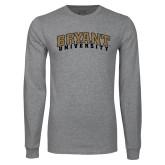 Grey Long Sleeve TShirt-Arched Bryant University