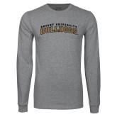 Grey Long Sleeve TShirt-Arched Bryant University Bulldogs