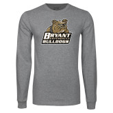 Grey Long Sleeve T Shirt-Bryant Official Logo Distressed