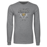 Grey Long Sleeve T Shirt-Basketball Stacked on Ball