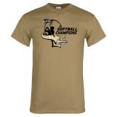 Khaki Gold T Shirt-2014 Softball Champions
