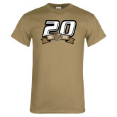 Khaki Gold T Shirt-20th Football Logo