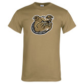 Khaki Gold T Shirt-Bulldog Head
