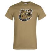 Khaki Gold T Shirt-Bulldog Head