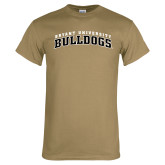 Khaki Gold T Shirt-Arched Bryant University Bulldogs