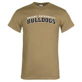 Khaki Gold T Shirt-Arched Bryant University Bulldogs