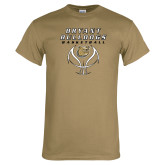 Khaki Gold T Shirt-Basketball Stacked on Ball