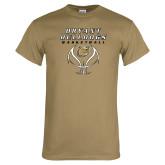 Khaki Gold T Shirt-Basketball Stacked on Ball