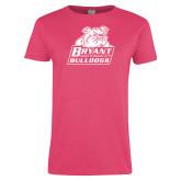 Ladies Fuchsia T Shirt-Bryant Official Logo