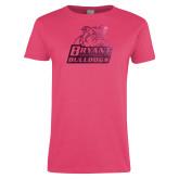 Ladies Fuchsia T Shirt-Bryant Official Logo Foil