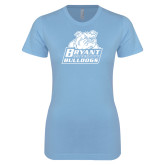 Ladies SoftStyle Junior Fitted Light Blue Tee-Bryant Official Logo