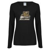 Ladies Black Long Sleeve V Neck Tee-Bryant Official Logo