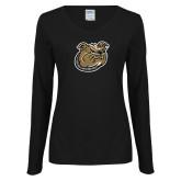 Ladies Black Long Sleeve V Neck T Shirt-Bulldog Head