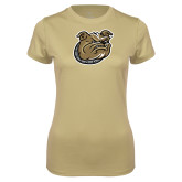 Ladies Syntrel Performance Vegas Gold Tee-Bulldog Head