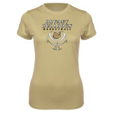 Ladies Syntrel Performance Vegas Gold Tee-Basketball Stacked on Ball