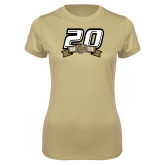 Ladies Syntrel Performance Vegas Gold Tee-20th Football Logo